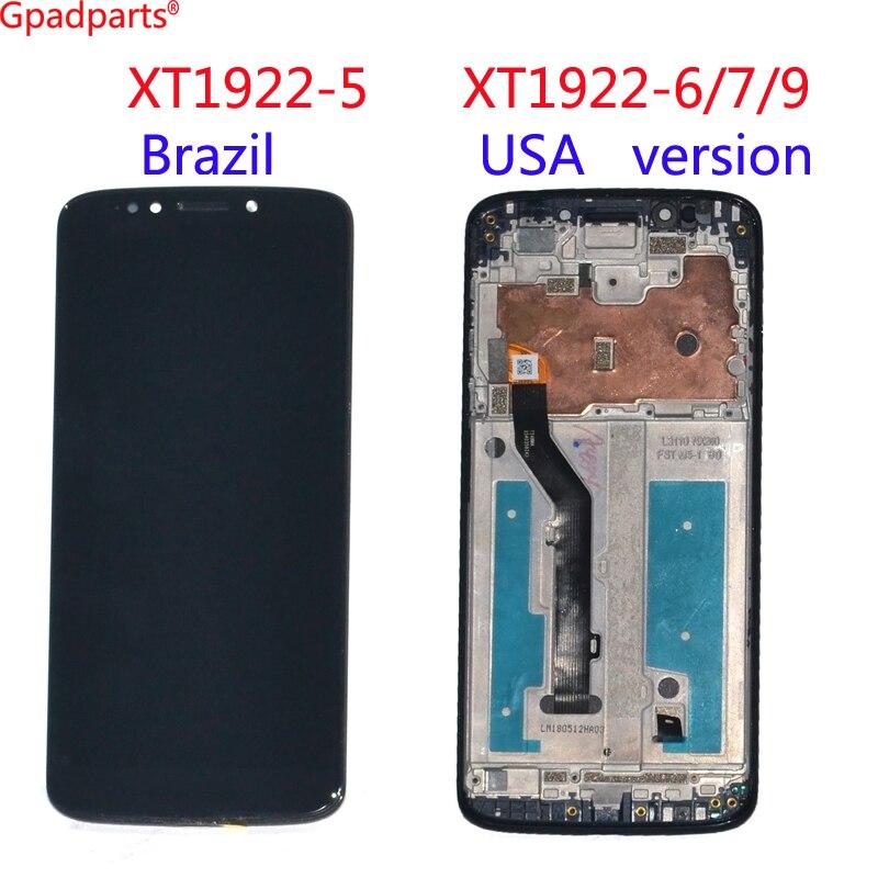 100% Testado Para Moto G6 Jogar Xt1922-5 XT1922-6 XT1922-7 screen Display Lcd assembléia Tela de Toque com frame oriente moldura anel