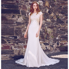Verngo Mermaid Wedding Dress Ivory Lace Appliques Wedding Gowns Elegant Bride Dress Cap Sleeve elegant Striking Cut-out Train