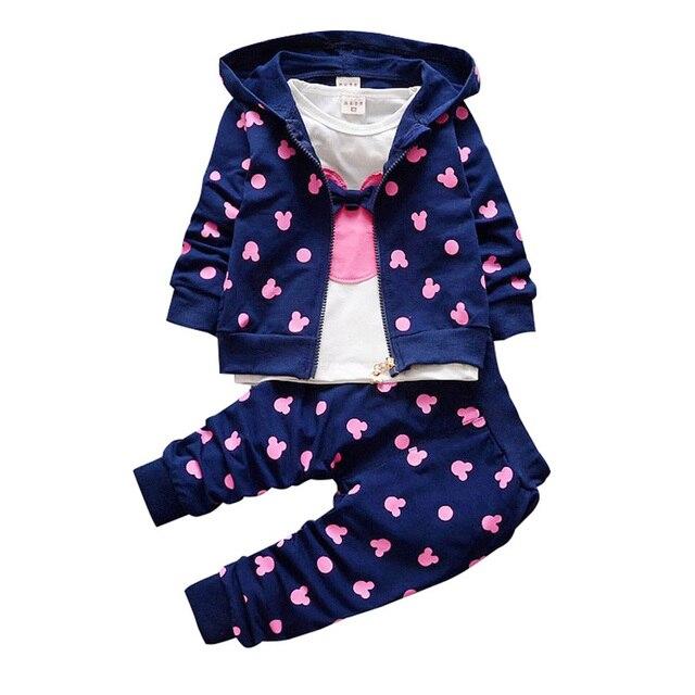 Terno infantil menina minnie, camiseta e jaqueta com capuz roupas infantis outono inverno 2020 + calças/3 peças