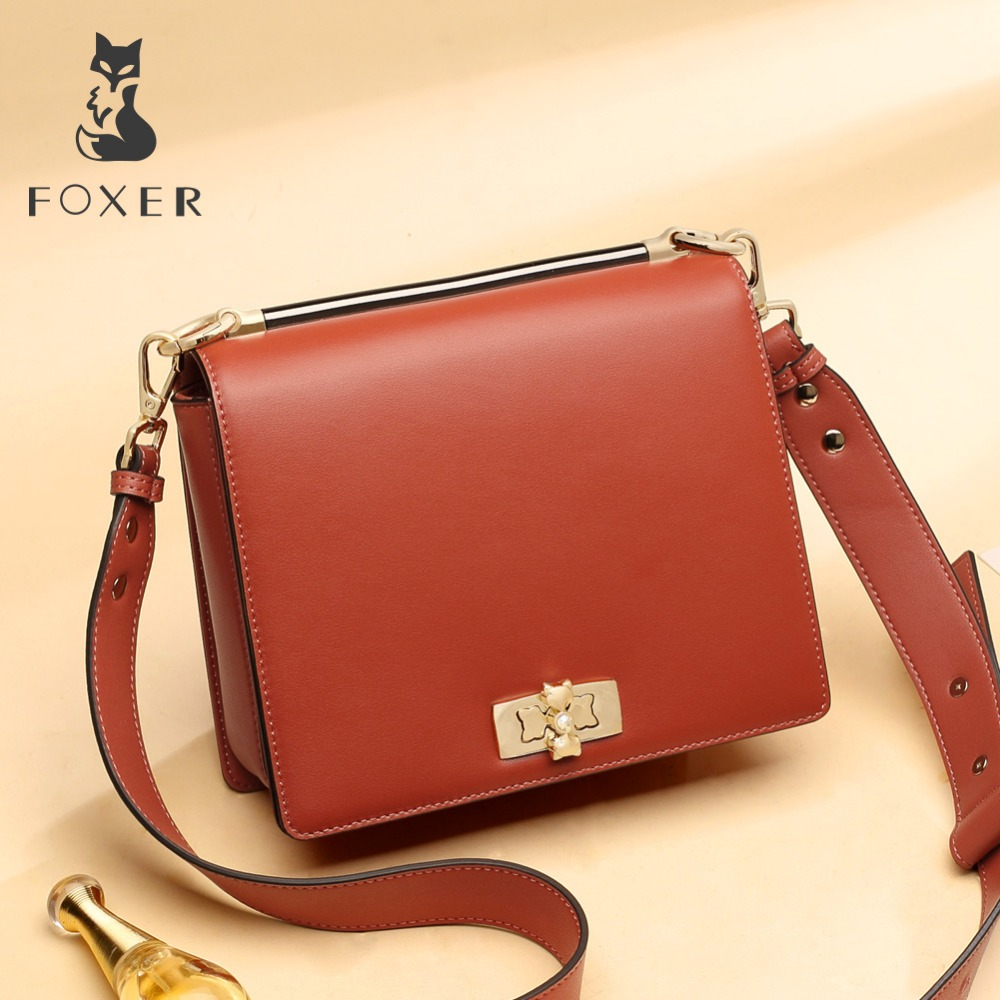 FOXER Brand Women Korean style Bags Large Capacity Luxury Shoulder Bags Women Split Leather Soft Crossbady
