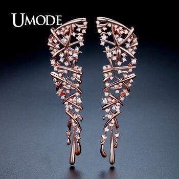 d1c8ecb84079 UMODE de Moda de nuevo diseño de marca declaración encanto flor Pendientes  para las mujeres de Color oro rosa Pendientes de botón Pendientes Mujer Moda  ...