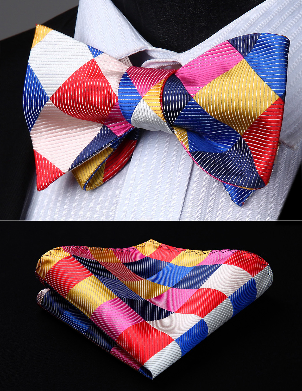Men Woven Party Wedding White Red Pink Check Plaid Self Bow Tie Pocket Square Set#BC815KS Bow Tie Handkerchief Set