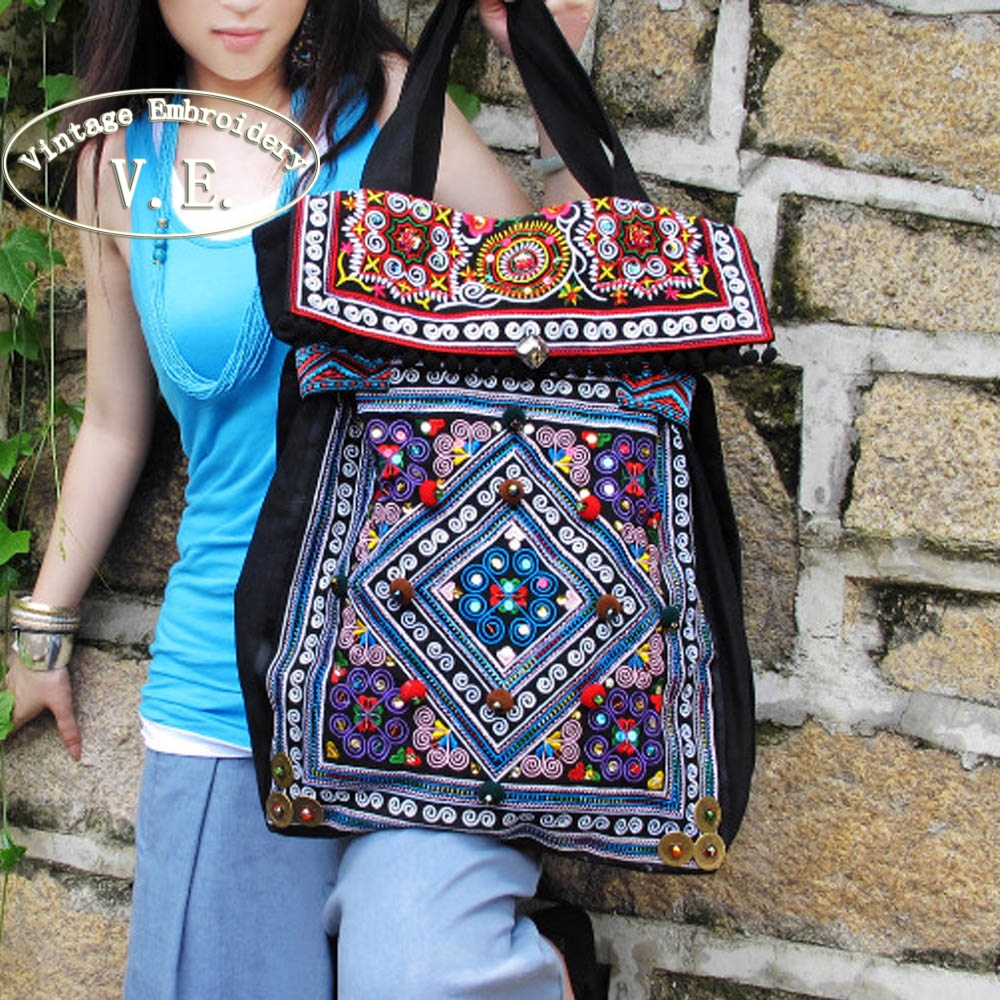 Vintage Embroidery Women Bag Original Chinese Embroidered Pompon Beads Canvas Shoulder Bag Travel Tote Handbags Bolsas