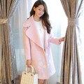 Tipo capullo de la flor bordado de la capa de corea del nuevo invierno delgado sólido de lana largo abrigo de lana femenino