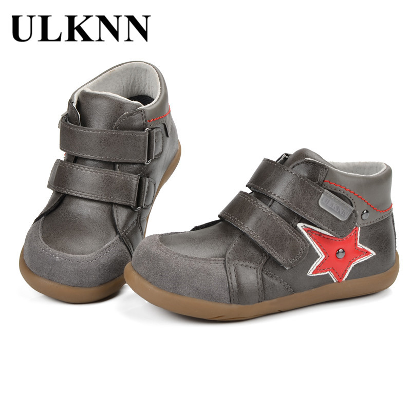 ULKNN Kids Shoes Boys Sneakers Children Casual Shoe Genuine Leather Flat Running Sport Anti-Slippery Baby Kids Sneaker Star Shoe