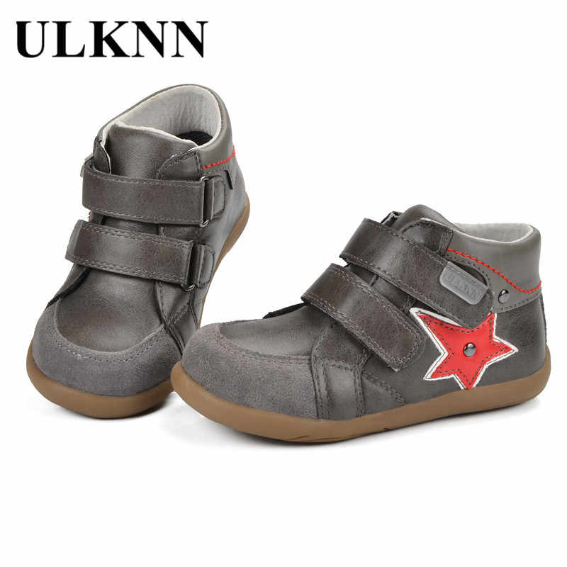 ULKNN Kids Shoes Children Shoe Boys Sneakers Casual Genuine Leather Flat  Running Sport Anti-Slippery 556f0567ed1d