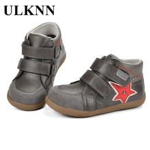 купить ULKNN Kids Shoes Boys Sneakers Children Casual Shoe Genuine Leather Flat Running Sport Anti-Slippery Baby Kids Sneaker Star Shoe дешево
