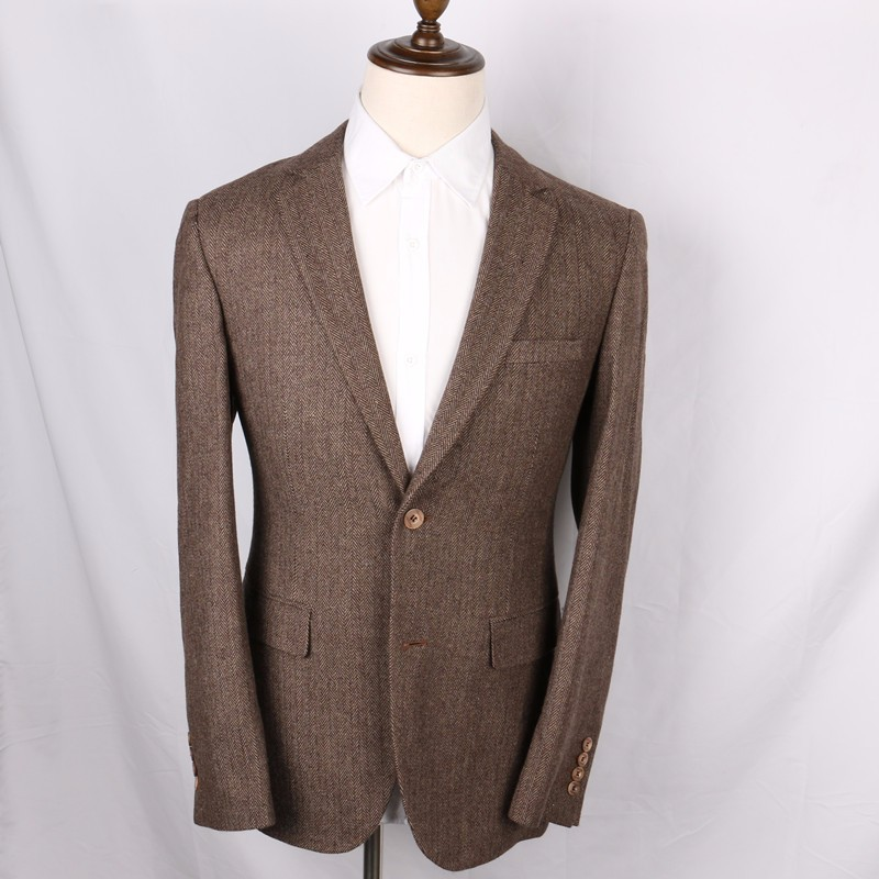 Wool-Brown-Herringbone-Suit-Jacket-Vintage-Style-Mens-Slim-Fit-Tweed-Check-Blazer-Jackets-2-Button-Long-Designer-Mens-Wedding-Wear(2)