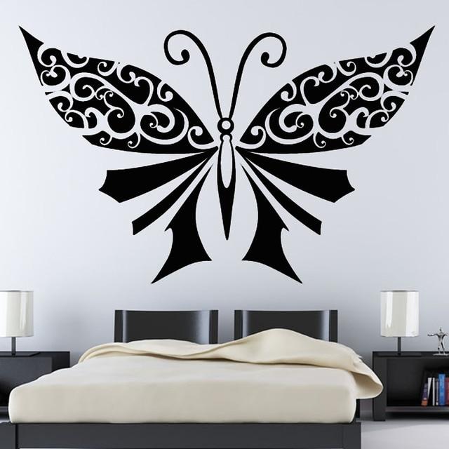 Large Black Butterflies Wall Decor Bedroom Headboard Wall Sticker ...