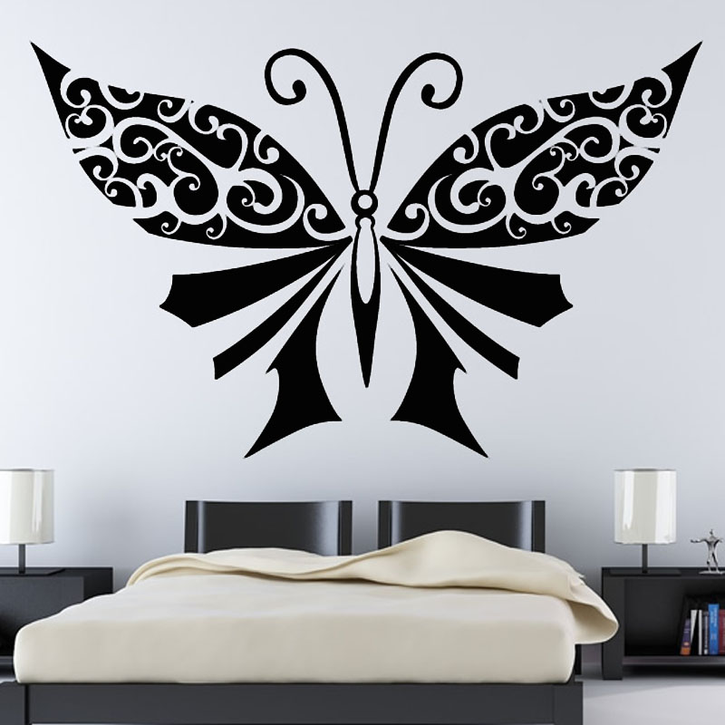 dctop grande negro mariposas decoracin de la pared cabecero dormitorio etiqueta de la pared diy extrable