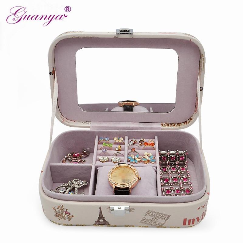 Guanya High grade love birthday gift choice fashion printed Eiffel Tower etc. jewelry box earings ring bracket carrying case