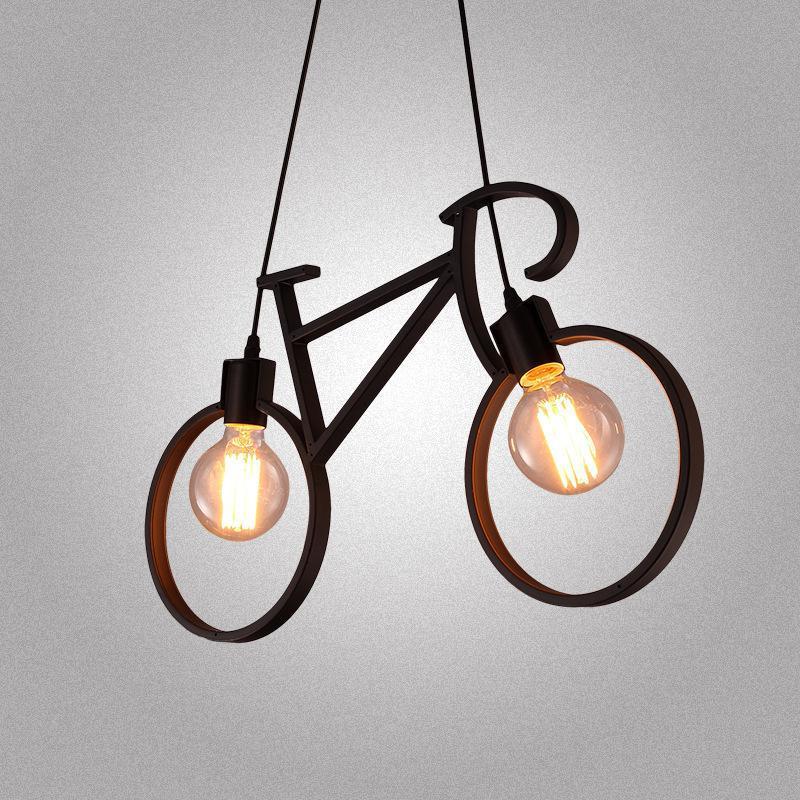 Vélo fer pendentif lumières 61*37 cm noir blanc vélo Droplight Restaurant suspension lampe chambre luminaire