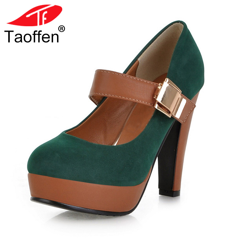 TAOFFEN Women Stiletto High Heel Shoes Platform Buckle Lady Quality Footwear Escarpin Heeled Pumps Heels Shoes P2583 Size 34-43 taoffen women high platform shoes patent leather star lady casual fashion wedge footwear heels shoes size 33 48 p16184