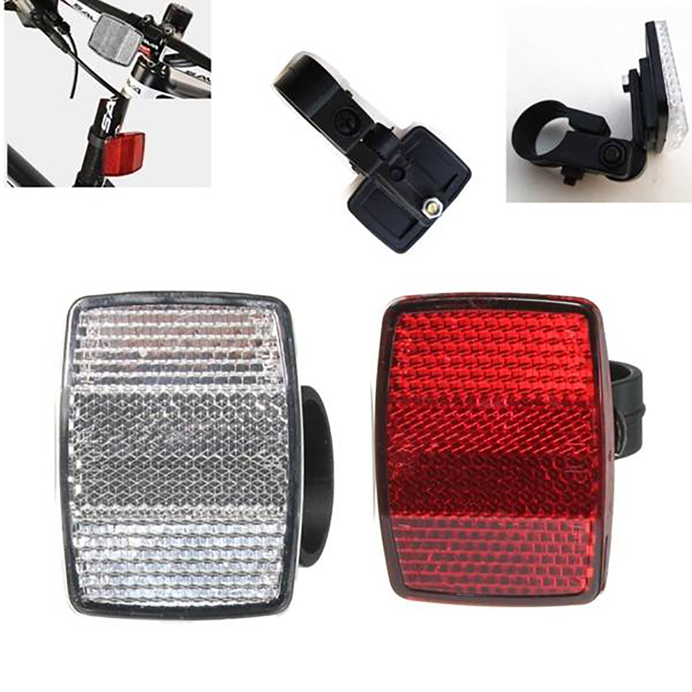 1pc Bicycle Front Rear Reflective Lens Road Bike Automatic Reflectors Cycling Warning Light Bike Lights Safety Accessories Mount