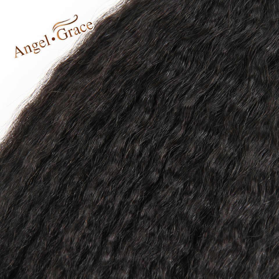Pelo de Ángel Grace Pelo Rizado pelo brasileño armadura paquetes 4 piezas 100g grueso Yaki Remy cabello humano Tissage cheveux Humain