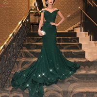 Elegant Green Mermaid Evening Dresses 2019 New Sexy Off The Shoulder V Neck Formal Party Long Gowns Satin arabic robe de soiree