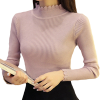 2017 Autumn Winter Modern Women Sweater High Elastic Solid Turtleneck Sweater Women Slim Sexy Bottoming Knitted