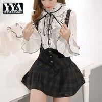 New Brand Korean Womens Fashion Flare Sleeve Ruffles Sweet Blouse Single Breasted Stand Collar Slim Plus Size 5XL Female Shirts