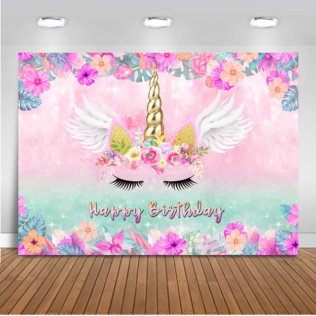 Unicorn Rainbow Backdrop for Photography Happy Birthday Background for Party Decoration Props Photo Booth Studio Wing 585
