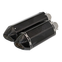 Universal 51MM Motorcycle Carbon Fiber Silencer Exhaust Pipe Muffler With Stickers For ATV Z750 CB400 R6 MT07 Escape Slip on