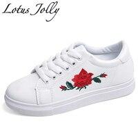 Jolly 2017 3d Bordado de loto Mujeres Zapatos Mujer Primavera Verano Floral Holgazanes Pisos Transpirable Zapatos Casuales Sapatos Femininos