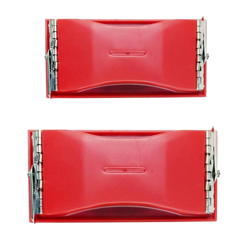 2pcs Rectangle Grit Abrasive Paper Sandpaper Holder Hand Sander - Red Black