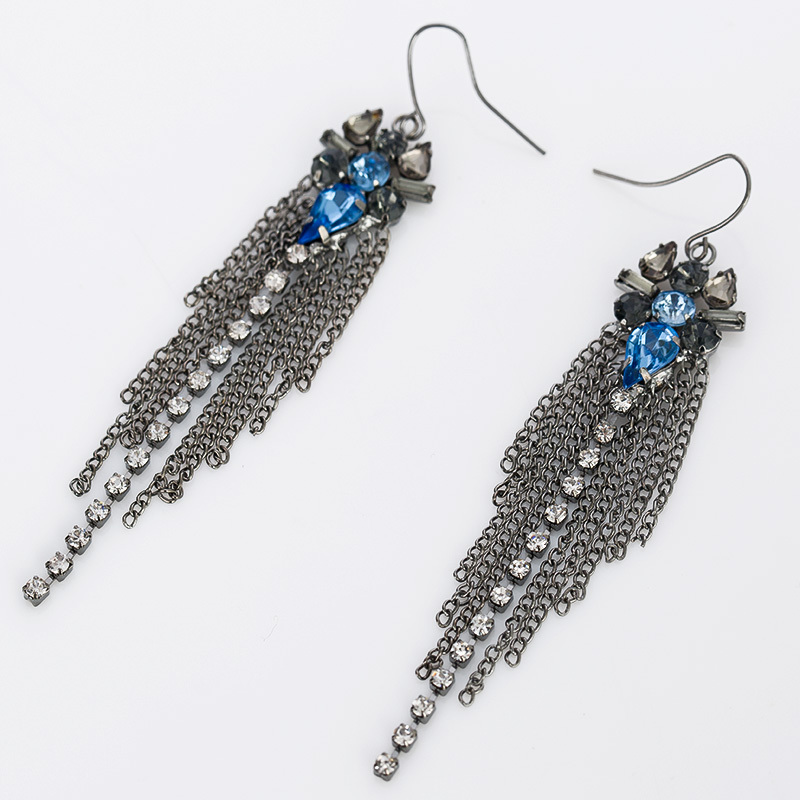 Luxury Fashion Jewelry blue and black Color Long Tassel Drop Earrings For Women With Colorful Created #E169