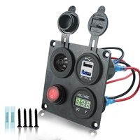 DIY 12 24V Voltmeter Cigarette Lighter Dual USB Charger with Switch 4 Hole Aluminum Panel Plate for Truck Boat Marine Trailer