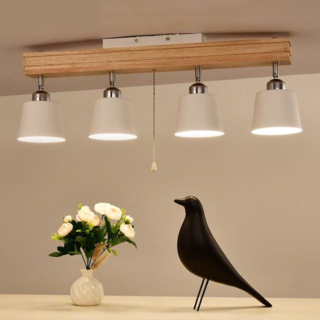 Led Nordic Anese Style Ceiling Light Solid Wood Art Lamp Track Restaurant Bedroom Lighting