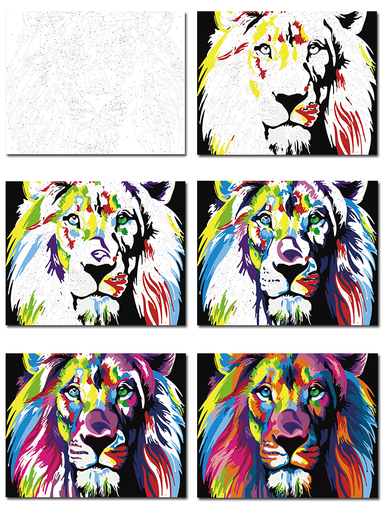 "16X20/"" DIY Acrylic Paint By Number Kit Paint On Canvas Deep Kiss Love W//N Frame"