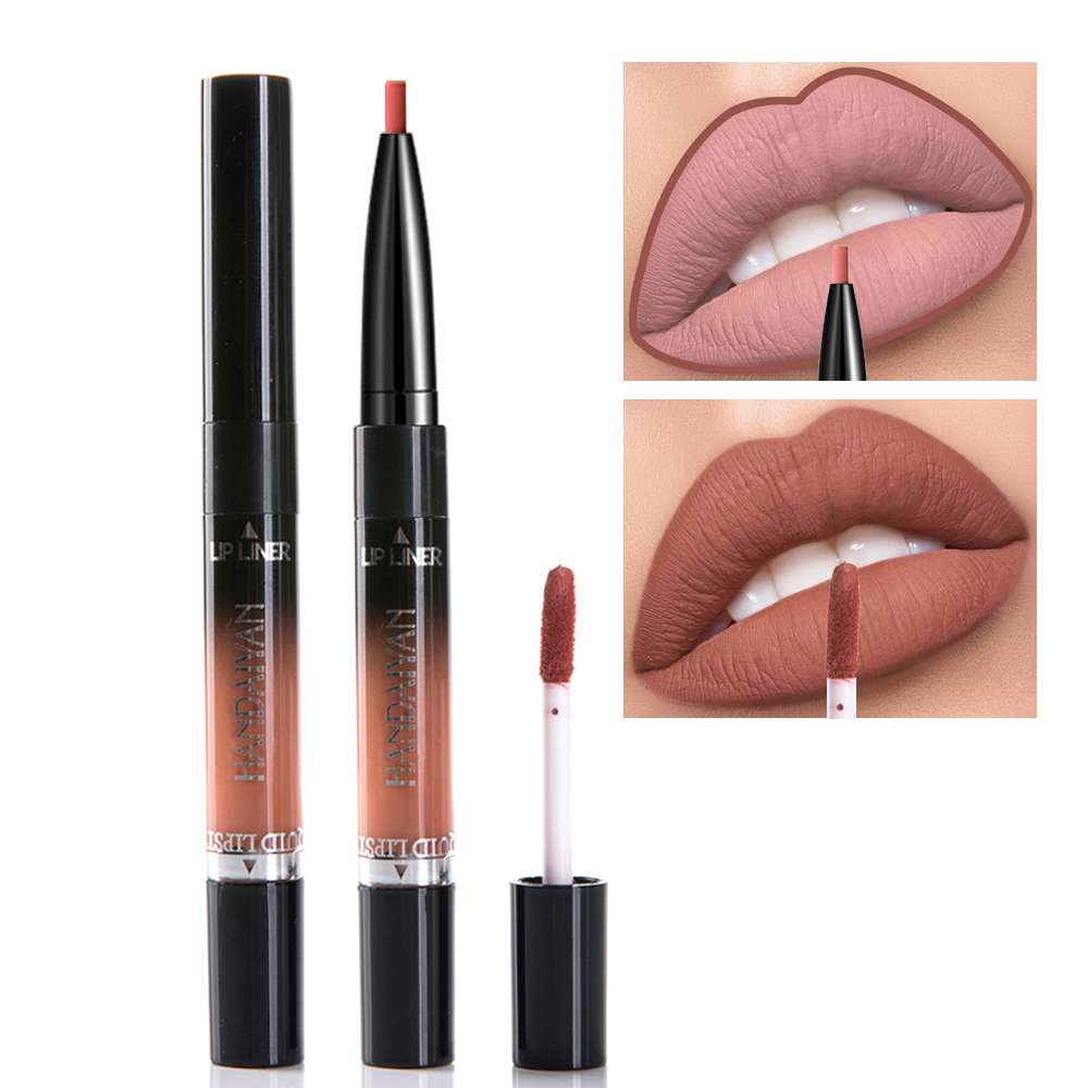 Handaiyan Liquid Lipstick Pink Purple Red Lipgloss Long-lasting Waterproof Nude Mate Lip Liner Pencil Double-end Matte Lipsticks 5