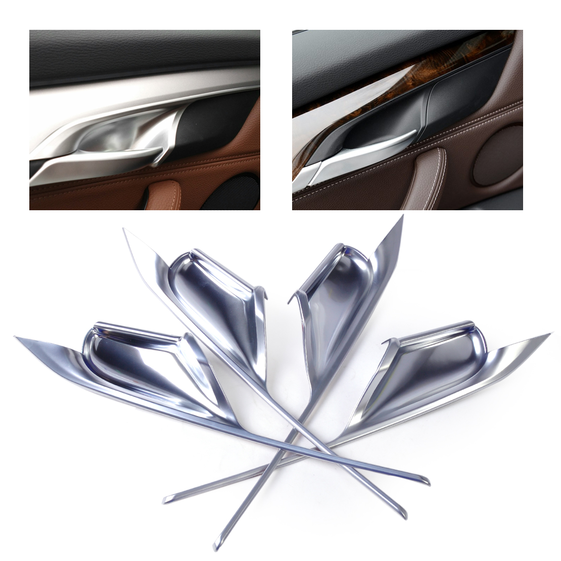 beler New 4pcs Silver Chrome Plated Interior Door Handle Bowl Cover Trim Car Decoration Fit for BMW X5 F15 X6 F16 2014 2015 2016