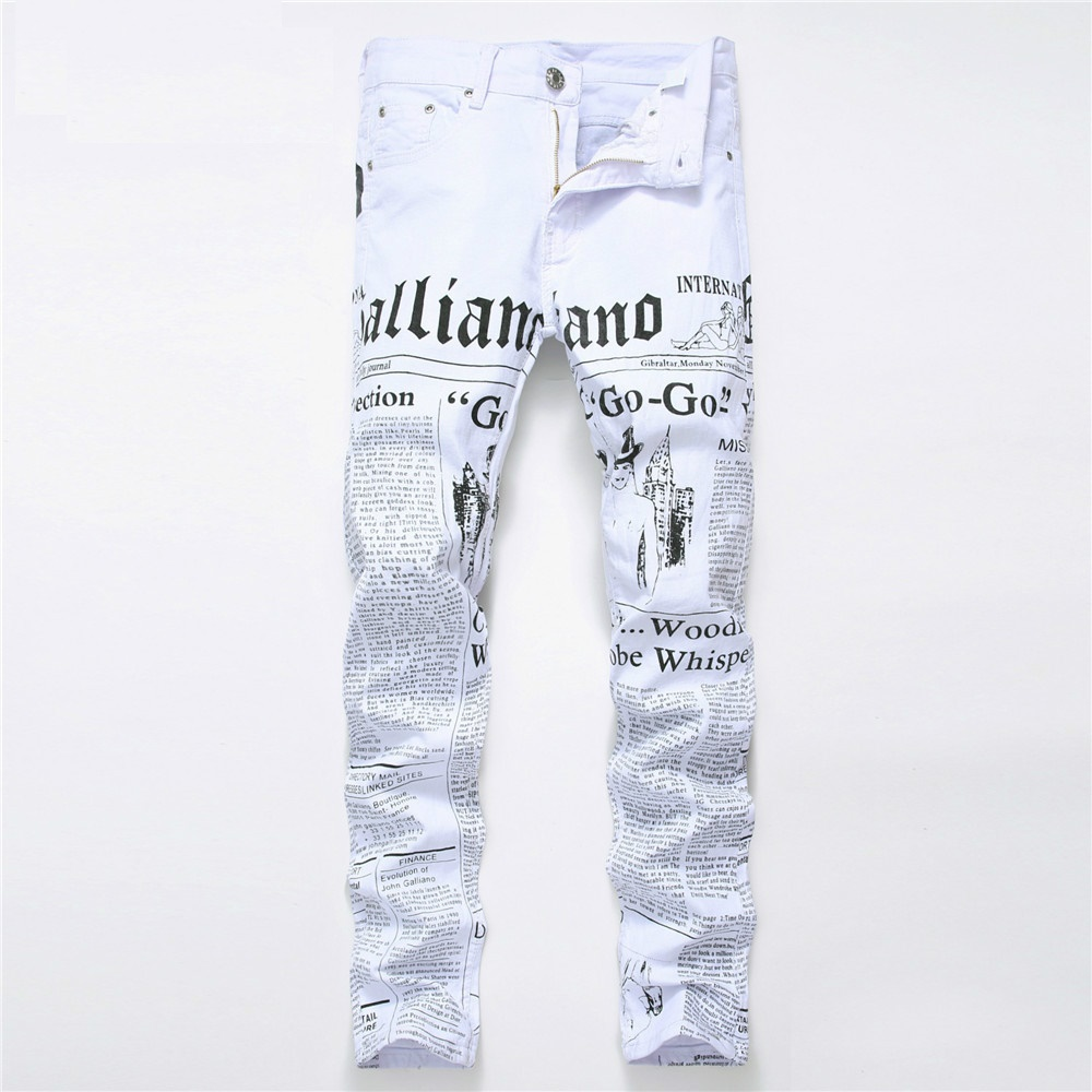 Biker Men Skinny Jeans Homme 3D Printed Letter Streewear Slim Fit Denim Pants Male Slim Stone Washed Hip Hop Cotton Jeans