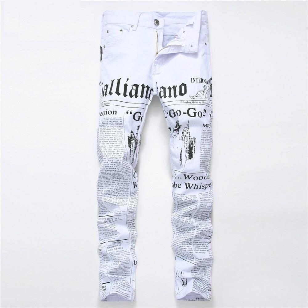 Biker Men Skinny Jeans Homme 3D Printed Letter Streewear Slim Fit Denim Pants Male Slim Stone Washed Hip Hop Cotton Jeans