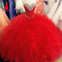 2017 Red Royal Blue Purple Pink Quinceanera Dresses Ball Gown Beaded Crystals Ruffles Sweet 16 Dress