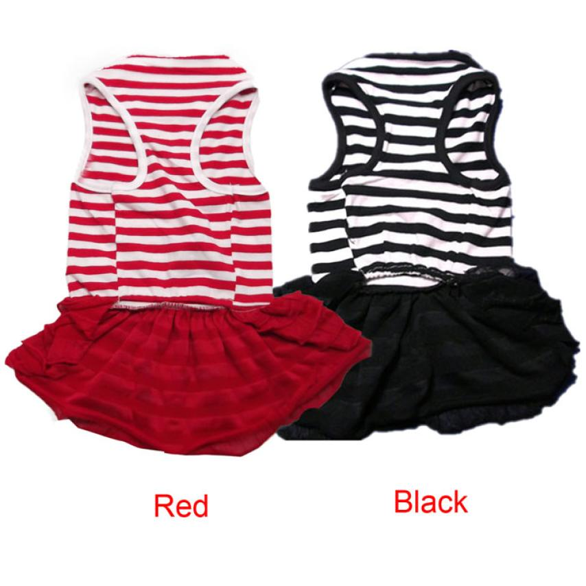 2017 Fashion Pet <font><b>Dog</b></font> <font><b>Dresses</b></font> Apparel Pet <font><b>Dog</b></font> Costume Stripe T-shirt Skirt Puppy Princess <font><b>Dress</b></font> 2JY14 image