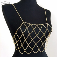 Chran New Women Sexy Silver Gold Tone Mesh Beach Chain Bra Slave Harness Chain Bralette Necklace Grid Bikini Jewelry CRBJ901