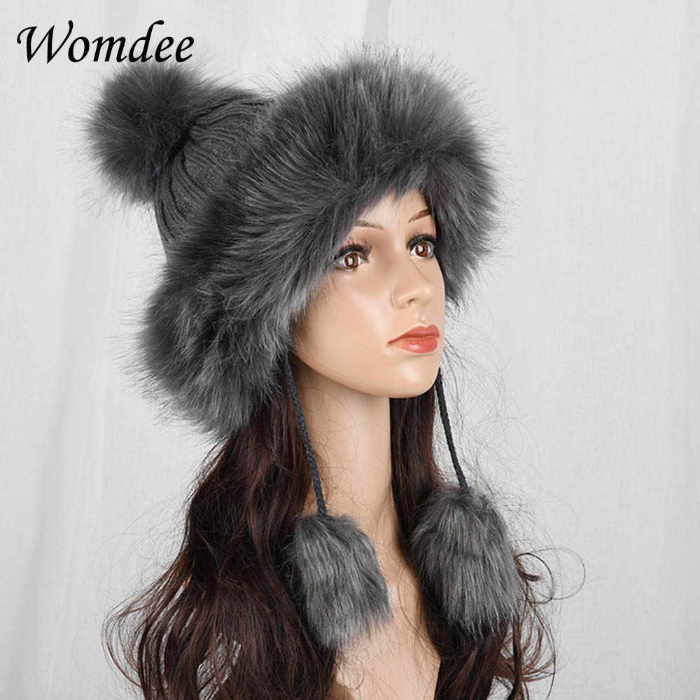 a306bd5297f Autumn Winter Faux Fox Fur Caps for Women Girls Fur Ball Knitting Bomber  Hats Headband Soft