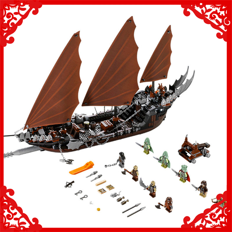 LEPIN 16018 Lord Of The Rings Ghost Pirate Ship Building Block 756Pcs DIY Educational Construction Assemble Toys For Children lepin 22001 pirate ship imperial warships model building block briks toys gift 1717pcs compatible legoed 10210