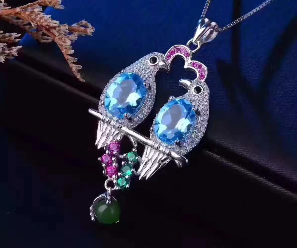 natural blue topaz gem pendant S925 silver Natural jade Pendant Necklace Joy romantic magpie Love couple women party jewelry