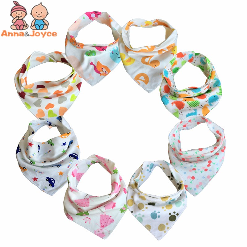 10pc/lot Baby Bibs  100% Cotton Triangle Head Scarf Boy Kerchief Girl Babador Bandana Dribble Bib(China)