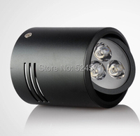 Free Shipping 3x3w Led Recessed Light 95 100LM W Black Shell 9W LED Downlight AC85 265V