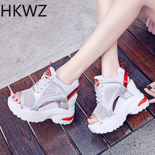 Women's high-heeled sandals summer new muffin thick-soled lacing mesh breathable fish mouth casual comfortable sandals high 11cm