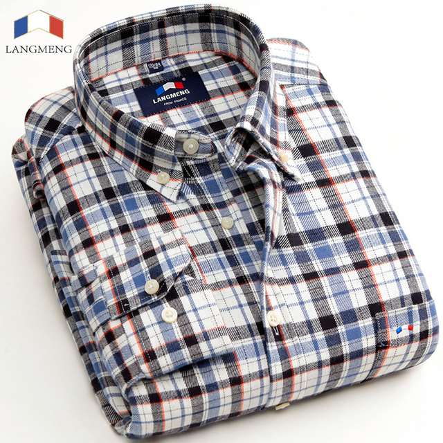 b092692d8c Langmeng 2016 100% cotton flannel men brand shirt long sleeve men dress  shirts turn down