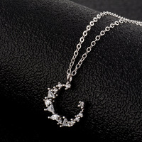 Irregular crescent temperament moon clavicle chain female silver crystal necklace wild silver jewelry TN03