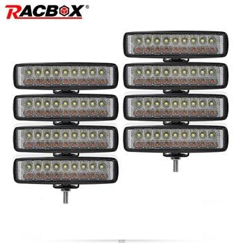 """8pcs Double Color 6"""" 18W Slim LED Light Bar White Amber 12V 24V Flood Work Light for Car Motorcycle ATV UTV UAZ  MPV Spotlight"""
