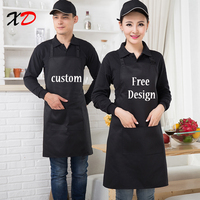 Custom Apron Add Text Black Unisex Work Waiter Kitchen Apron Cooking Baking Restaurant Aprons With Pockets