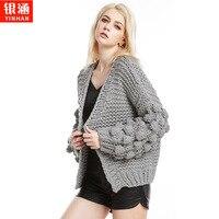 The new 2018 ms hand hook hand knitting sweater sweater cardigan personality fashion women's coat