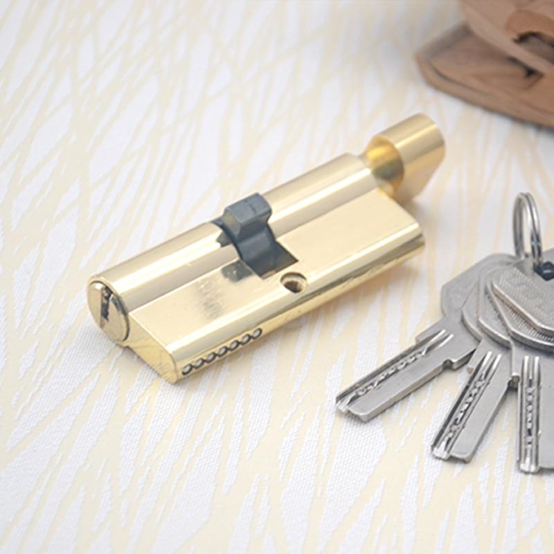 HILUKE 70mm zinc alloy five keys lock core household single open door lock cylinder high quality hiluke 70mm brass lock cylinder 5pics brass key with two line and button europe standard safe door lock core single open