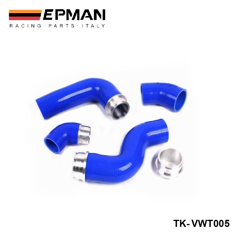 Silicone Intercooler Induction Intake Turbo Boost Hose Kit For VW Golf MK5 GTI 2.0FSI/JETTA GLI 2.0TDI (4pcs) EP-VWT005 epman universal black 3 76mm polished aluminum fmic intercooler piping kit diy pipe length 600mm for bmw e46 ep lgtj76 600